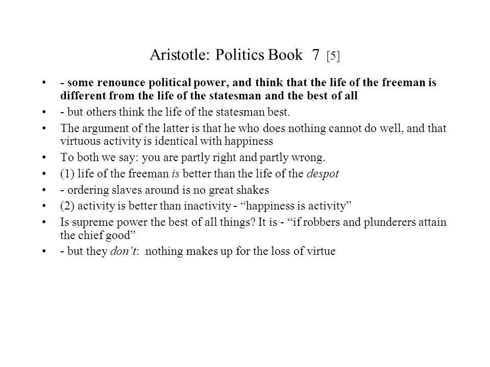 Aristotle: Politics Book 7 [5]